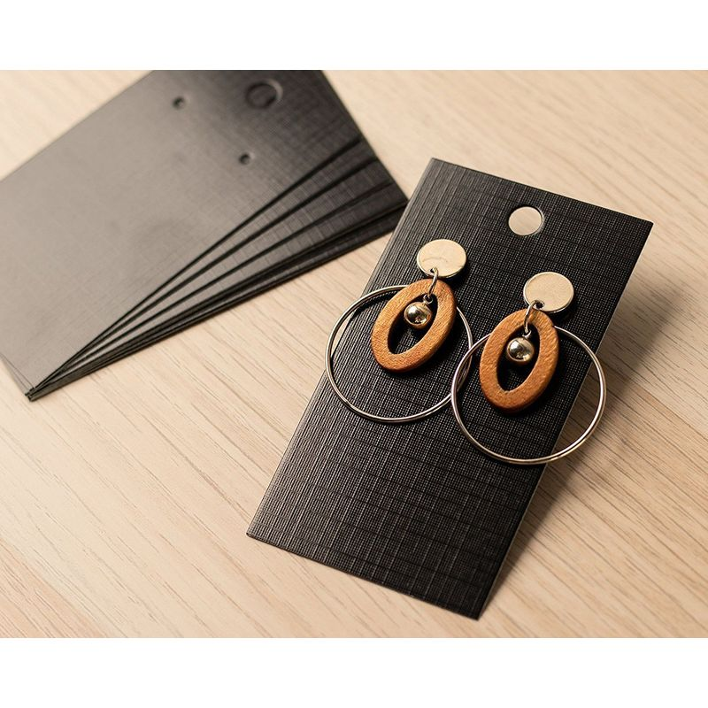 Earring Cards - 200-Pack Earring Card Holder, Earring Display Cards for Ear Studs, Earrings, Black, 3.5 x 2 Inches
