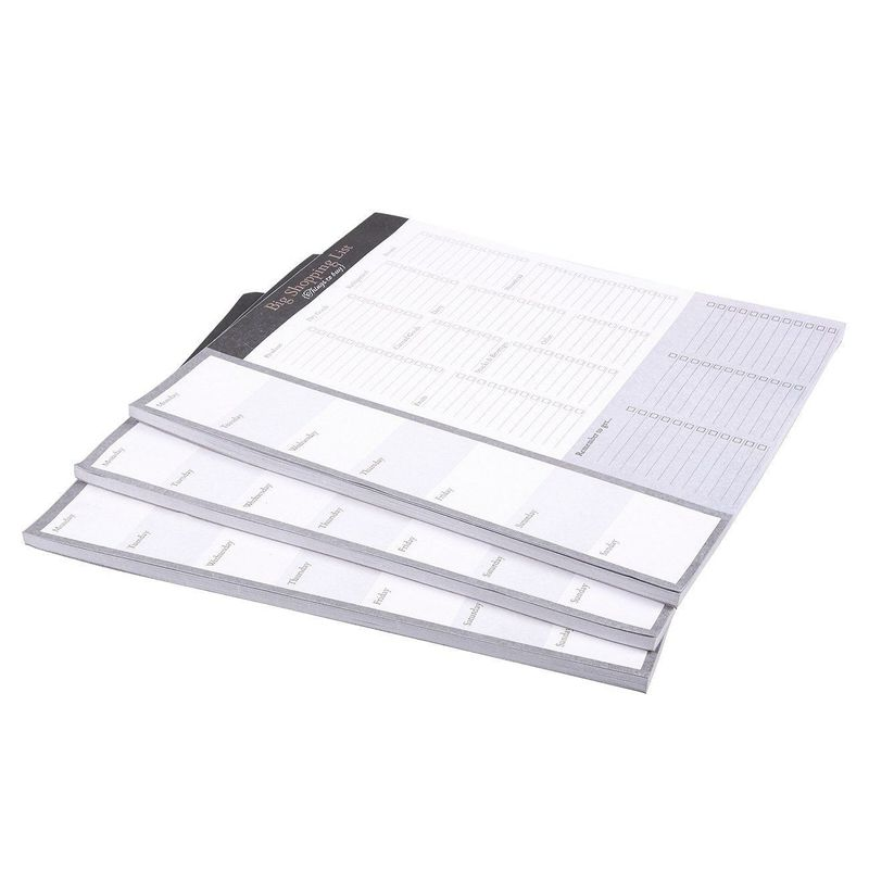 Large Magnetic Grocery, Shopping List Notepads for Fridge (156 Sheets, 3-Pack)