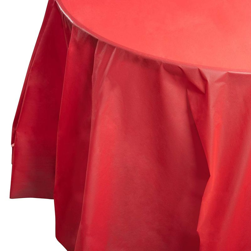 Juvale 12-Pack Red Plastic Tablecloth - Round 84-Inch Disposable Table Cover, Fits Up to 72-Inch Round Tables, Solid Red Color, Indoor Outdoor Party Supplies