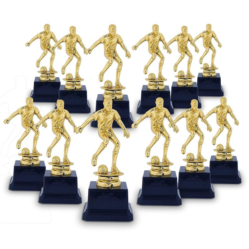 Soccer Trophy - 12-Pack Soccer Gold Trophies - Awards Recognition for Soccer Players, Coaches for Kids Tournaments, Competitions and Sport Party Decorations - Dribble Pose, 2.6 x 2.6 x 6.3 Inches