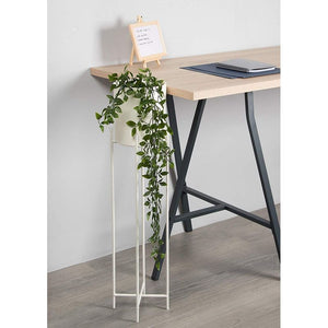 Plant Stand Set - 2-Piece Modern Plastic Planter with Tall Metal Stand - Decorative Standing Flower Succulent Pot Holder, Indoor Outdoor Terrace Patio Home Decor- White, 29.3 and 23 inches Tall