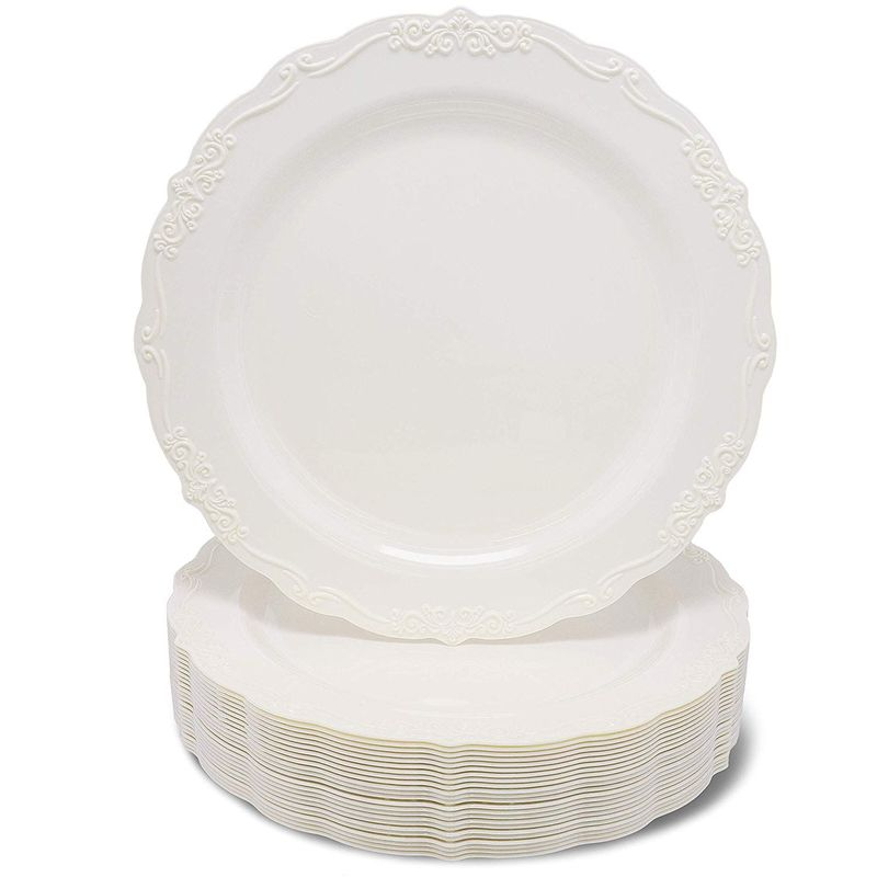 Wedding Dinnerware, Cream Plastic Plates for Parties, Birthdays (9 x 9 In, 25 Pack)