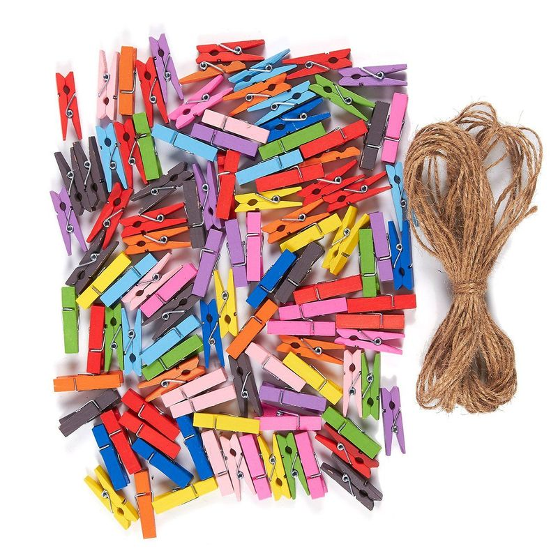 Mini Natural Wooden Clothespins - 100-Piece Small Colorful Clothespins with Jute Twine - Colored Wood Peg Pins Ideal for Crafts, Photo Paper Clips, Home Decoration - Multicolored,1.4 inches in Length