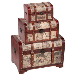 Juvale Wooden Chest Trunk, 3-Piece Storage Trunk and Chests - Map Pattern