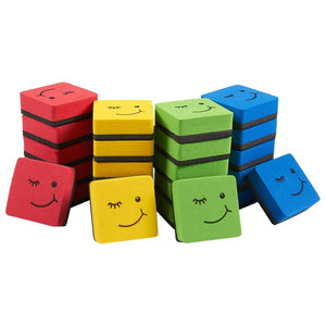 Mini Square Whiteboard Erasers, Face Design (4 Colors, 24 Pack)