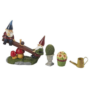 Mini Garden Gnome Fairy Village Statue Set, Whimsical Home Decor (7 Piece Set)