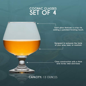 Whiskey Glass Set for Bourbon, Cognac, and Spirits (13 oz, 4 Pack)