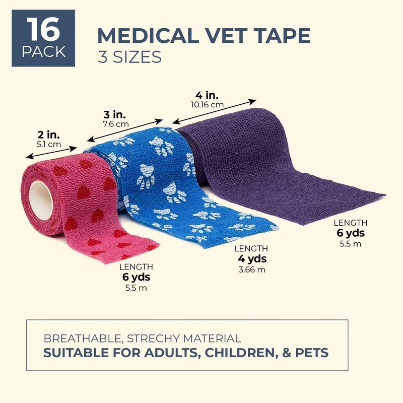 Juvale 16-Pack Self Adherent Medical Vet Tape Wrap Cohesive Bandage for First Aid, 6 Colors, 3 Sizes