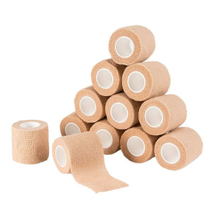 Self Adherent Wrap - 12 Pack Self Adhesive Tape, Cohesive Bandage Tape, Medical Tape, Gauze Roll, First Aid Supplies for Sports, Wrist, Ankle, Brown, 2 Inches x 5 Yards