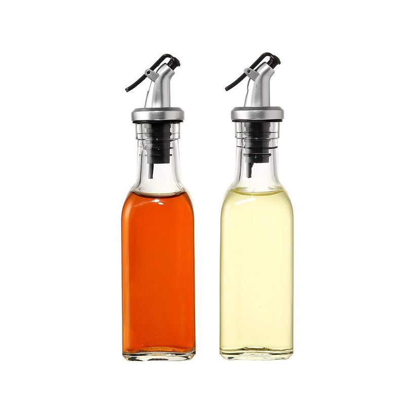 Set of 2 - Oil and Vinegar Cruet Glass Bottles with Dispensers 150ml by Juvale
