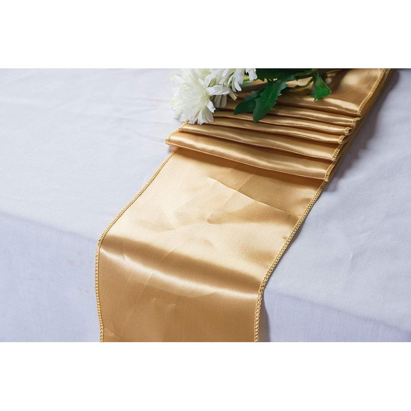 Gold Table Runner - 10 Pack Wedding Table Runners, Tablecloth Runner Decoration, Perfect for Weddings, Baby Showers, Birthdays, Special Occasions, Catering, 108.3 x 11.8 inches