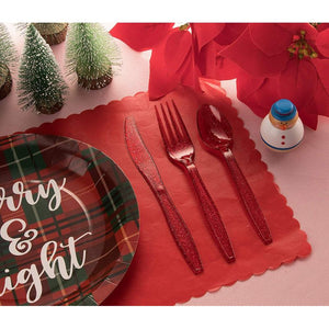 Plastic Silverware Set, Forks, Knives, Spoons (Red Glitter, 144 Pieces)