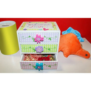 Kids Jewelry Box - Colorful Flower Compartment Drawer - Small Square Accessories Box - 6L x 4.5W x 6H