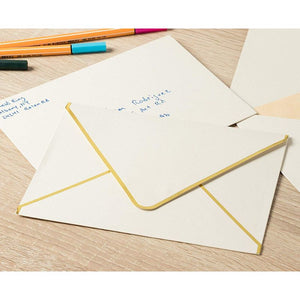 A7 Ivory Mailing Envelopes with Gold Foil Edges for Invitations (5x7 In, 50 Pack)