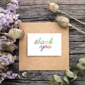 Thank You Cards - 48-Count Thank You Notes, Bulk Thank You Cards Set - Blank on the Inside, 6 Colorful Rainbow Font Designs - Includes Thank You Cards and Envelopes, 4 x 6 Inches