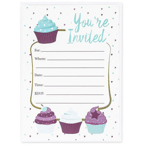 Juvale Cupcake Invitation Cards - 24 Fill-in Invites with Envelopes for Kids Birthday Party and Baby Shower 5 x 7 inches Postcard Style