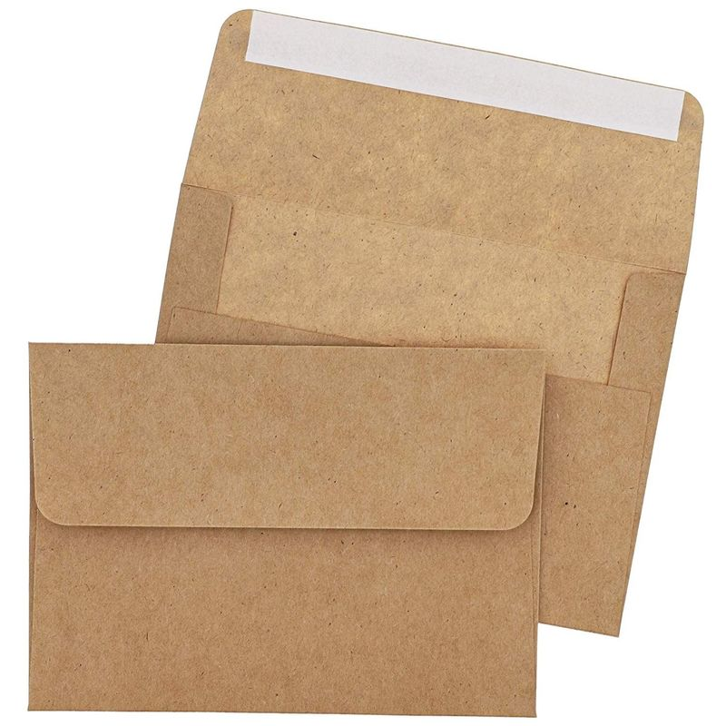 "100-Pack Classic Self Seal A7 Kraft Envelopes for 5""x7"" Cards Invitations Photos"