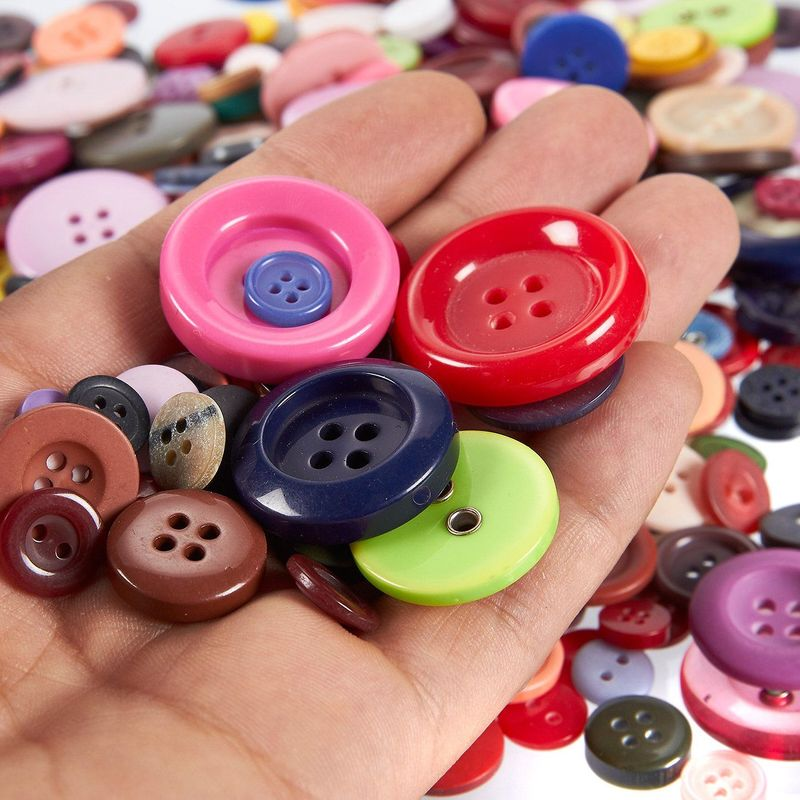 Round Resin Buttons- 1000-Pack Colorful Bulk Buttons with 2 or 4 Holes for Sewing, Art & Craft, DIY, Handmade, Assorted Mixed Colors and Sizes