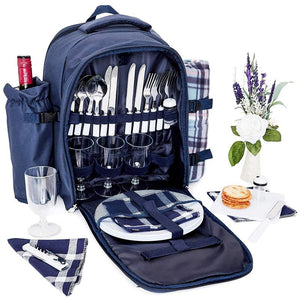 Juvale Picnic Basket Backpack Set for 4 with Insulated Cooler, Detachable Wine Bottle Holder, Blanket, and Dinnerware