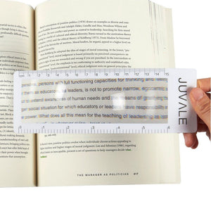 12-Piece Page Magnifiers - Ruler Magnifying Lenses, Plastic Bookmark Fresnel Magnifiers, 3 x Magnification, 7.5 X 2.5 Inches