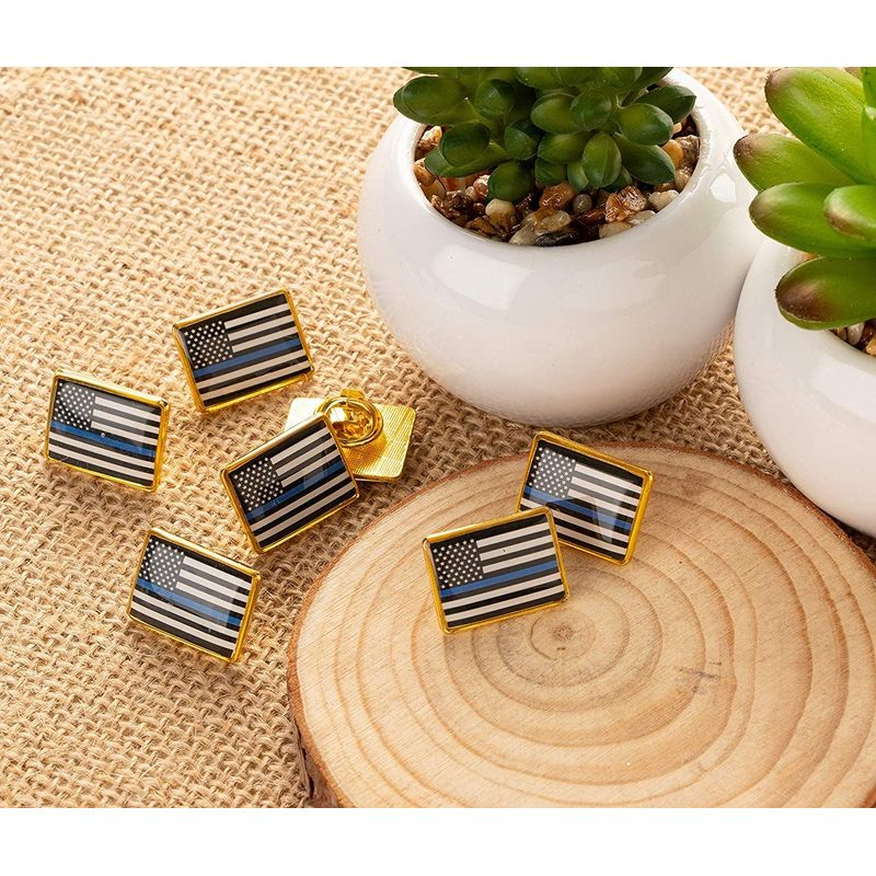 American Flag Police Lapel Pin - 12-Pack Thin Blue Line Flag Rectangle Pins, Law Enforcement Support, Black Blue and White with Gold Frame