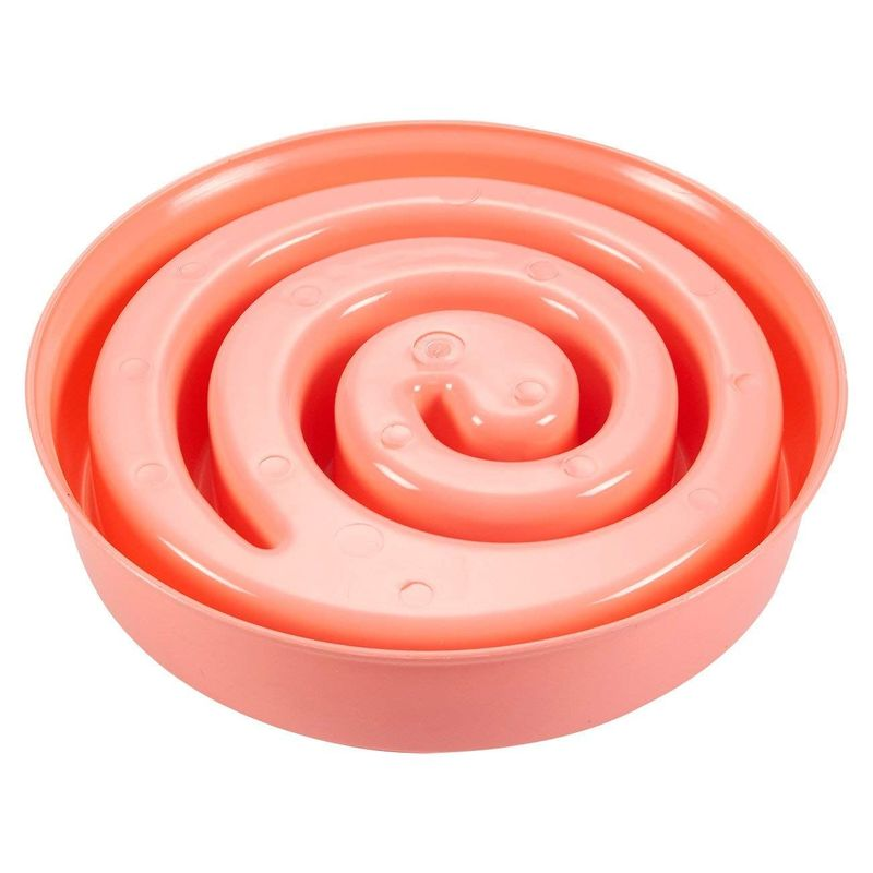 Juvale 2-Pack Interactive Spiral Dog Bowl, Slow Feeder Pet Dish to Stop Bloat, Pink and Green