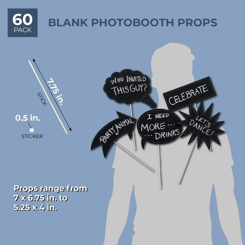 Juvale 60-Pack Writable Chalkboard Photo Booth Props for Weddings and Parties, Assorted