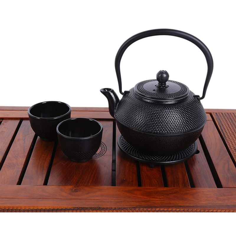Juvale Black Cast Iron Tea Kettle Set for 2 - Contemporary Dutch Hobnail Design with Trivet, Two Cups - 1200 ml