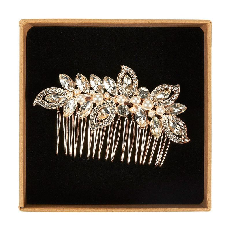 Bridal Hair Comb - Decorative Rhinestone Wedding Comb for Bridesmaids, Engagement Parties, Bridal Showers, Rose Gold - 3.5 x 0.39 x 2.13 Inches