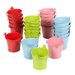 24-Pack Mini Metal Buckets with Handles for Party Favors, Candy, Small Plants