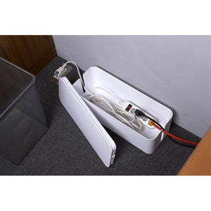 Cable Management Box - Desk Organizer Cable Box, Power Cord Organizer, White