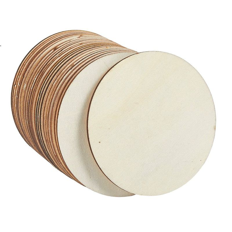 Unfinished Wood Circle - 24-Pack Round Natural Rustic Wooden Cutout for Home Decoration, DIY Craft Supplies, 4-inch Diameter, 0.1 inch Thick