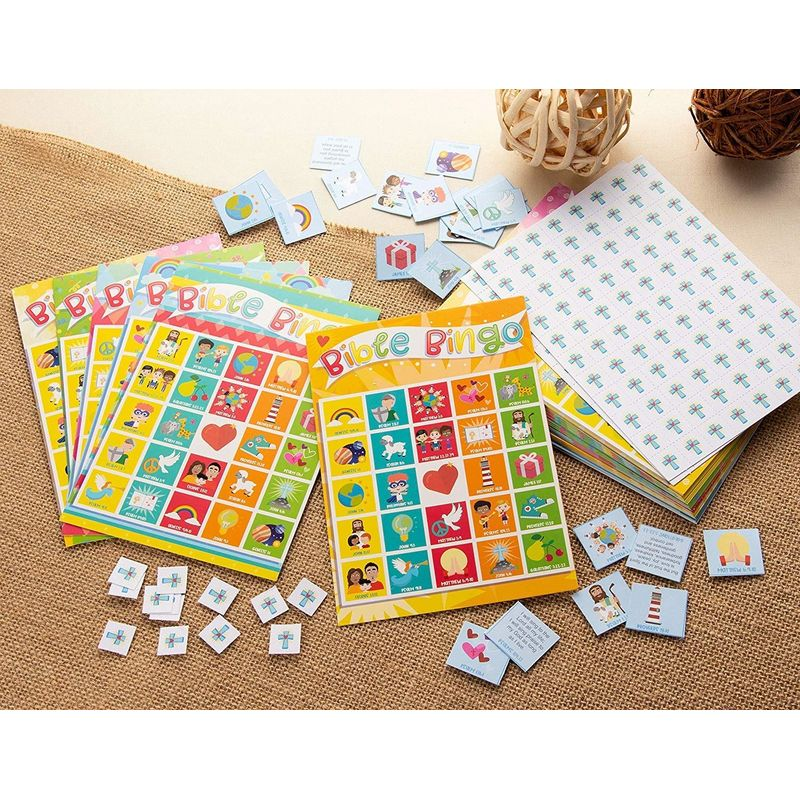 Bible Bingo Game Pack - 36-Set Kids Biblical Education Christian Party Supplies Activity Kit, 2 to 36 Multi-Player Scripture Verse Bingo, Sunday School, Classroom Game, Party Favors, Giveaways