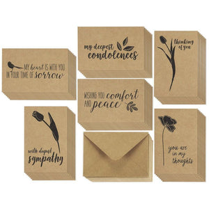 Juvale Sympathy Cards - 36-Pack Sympathy Cards Bulk, Greeting Cards Sympathy Kraft Paper, 6 Floral Bird Designs, Envelopes Included, Assorted Sympathy Cards, 4 x 6 Inches