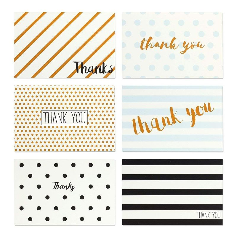 144 Pcs Thank You Cards Bulk Set, Polka Dot and Stripe Designs with Envelopes