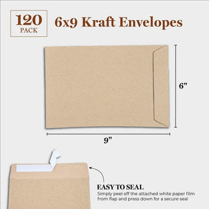 "Juvale 120-Pack 6"" x 9"" Self-Adhesive Business Kraft Catalog Flap Envelopes"