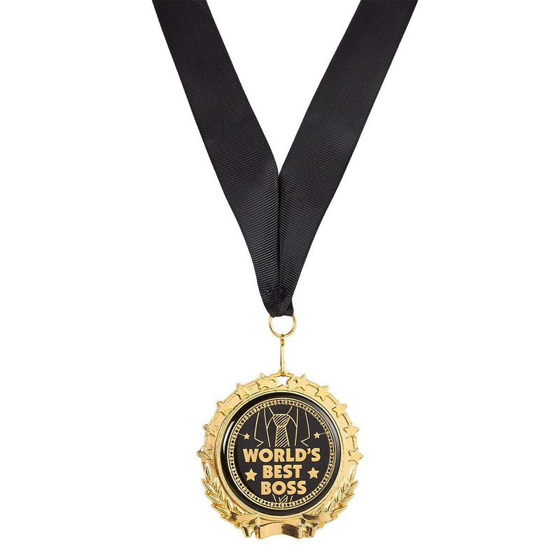 Juvale Gold Medal for Boss - World's Best Boss Medal with Ribbon - Company Event and Boss' Birthday Novelty Gift - Metal, Gold, Black