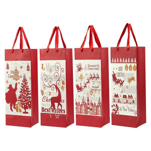 Juvale 12-Pack Wine Bags - Paper Bags with Satin Handles for Shopping, Alcohol, 4 Assorted Designs - 4 x 5 x 13.5 Inches
