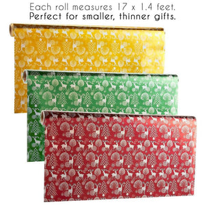 204 x 17 Inches Gift Wrapping Paper Rolls, Pack of 3, Narrow and Long, Christmas Reindeer Wrapping Paper - Shiny Xmas Gift Wrap, 17 Feet x 1.4 Feet, Gold, Burgundy, Green