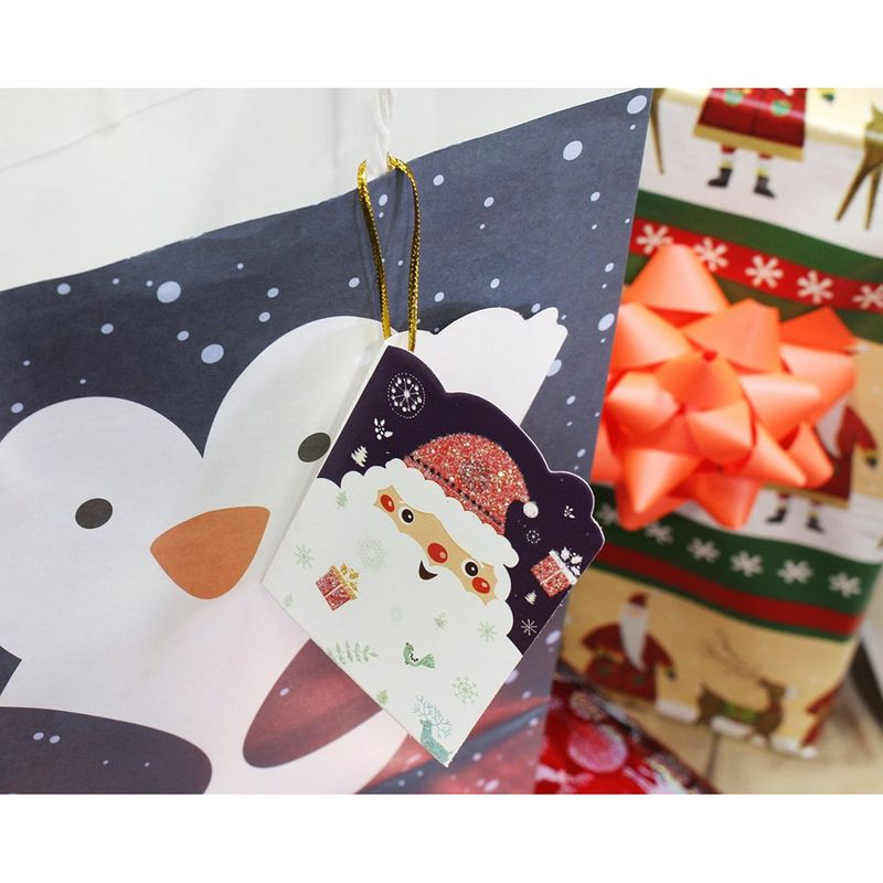 Holiday Gift Tags with String for Christmas Presents, Santa Designs (2.1 x 2.7 in, 128 Pieces)