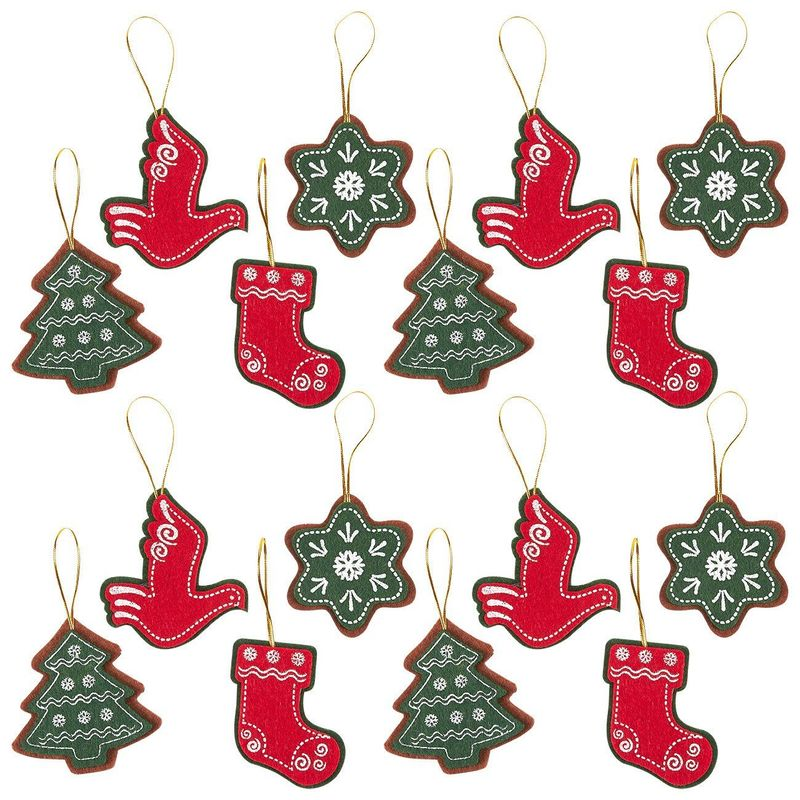 Juvale Pack of 16 Felt Ornament Set - Includes Star, Christmas Tree, Christmas Stocking, Dove - Cute Christmas Ornaments - Ready to Hang on Christmas Tree