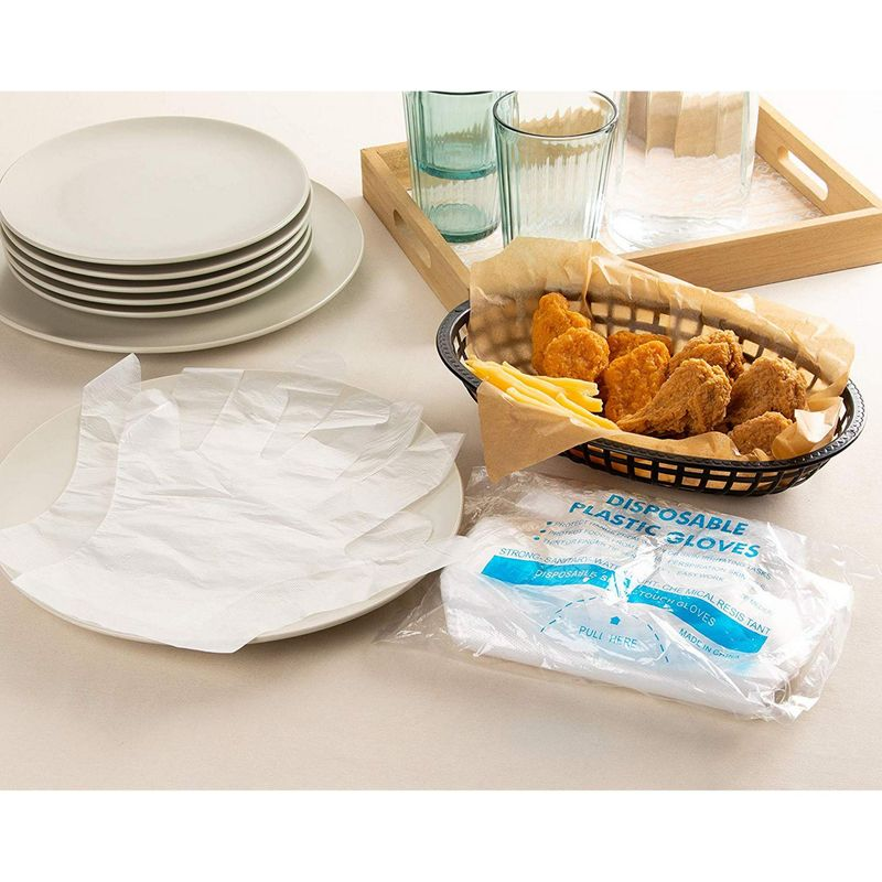 Disposable Food Prep Gloves - 1000-Piece Plastic Food Safe Disposable Gloves, Food Handling, Transparent, One Size Fits Most