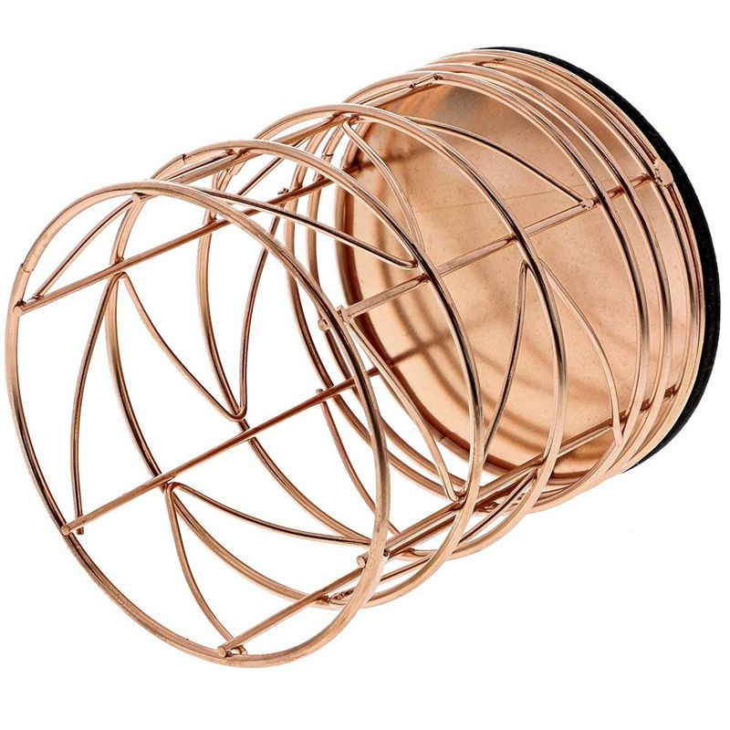 Juvale 2-Pack Rose Gold Metal Wire Makeup Brush Pencil Cup Holders, 3.5 x 3.5 x 4 Inches