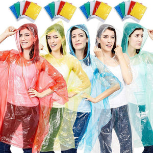 Juvale 20-Pack Disposable Rain Ponchos, Adults Emergency Waterproof Raincoat with Hood for Camping, Hiking, Sport or Outdoors, 5 Colors (Pink, Blue, Yellow, Green, Clear), Individually Wrapped