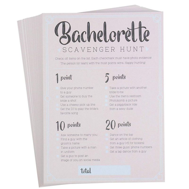 Bachelorette Party Games - 50-Pack Bar Scavenger Hunt Drinking Game and Dares, Fun Novelty Cards for Girls Night Out, Bachelorette Party Supplies, 5 x 7 Inches