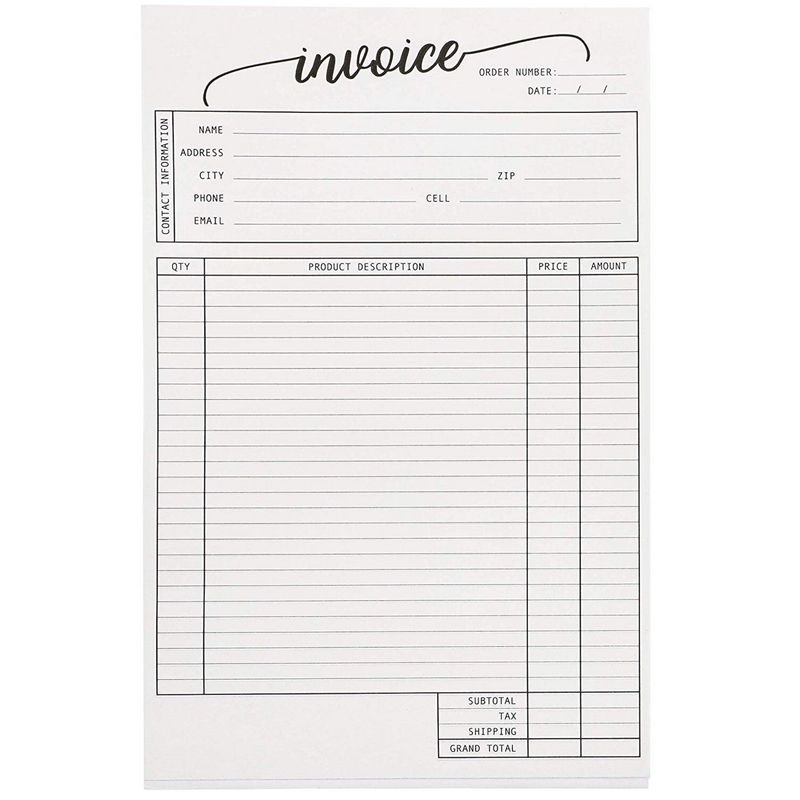 Juvale 2-Pack Carbonless Invoice Purchase Order Forms, 100 Sheets Each Pad, 5.5 x 8.5 inches