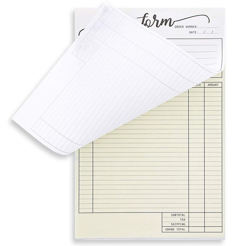 Juvale 2-Pack Carbonless Invoice Purchase Order Form Pads, 100 Sheets Each, Script Header, 5.5 x 8.5 inches