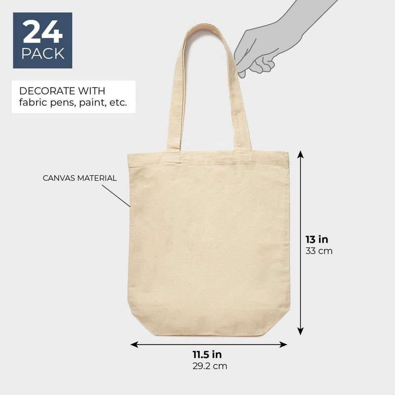 Juvale Set of 24 Bulk Blank Cotton Canvas Tote Bags for DIY Crafts, 13 x 11.5 Inches