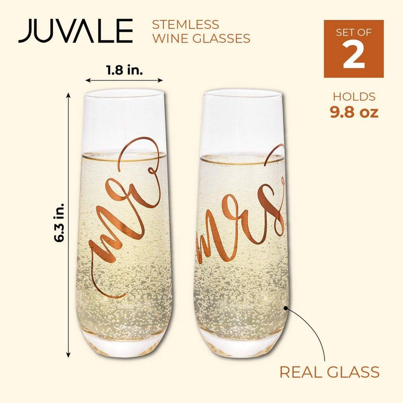 Juvale 2-Pack Rose Gold Glass Mr and Mrs Stemless Champagne Wedding Flutes
