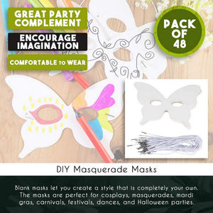 DIY Mask - 48-Pack Blank Masquerade Mask for Costume Party, Butterfly Design, 5.1 x 7.8 Inches